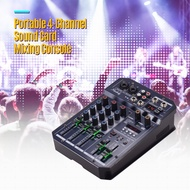 Muslady Portable 4-Channel Sound Card Mixing Console Audio Mixer Built-in 16 DSP 48V Phantom power Supports Connection MP3 Player Recording Function 5V power Supply DJ Live Broadcast