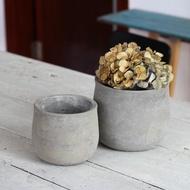 (mrboy) Cement Flower Pot Large Round Flower Pot