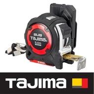 【Tajima 田島】剛厚包膠不鏽鋼捲尺 5米x25mm/公分 附安全扣/W磁鐵(GASFGSLWM25-50)