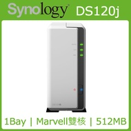 [WD NAS碟(3年保) 2TB*1] Synology DS120j NAS(1Bay/Marvell雙核/512MB)