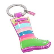 COACH 93136 彩色條紋漆皮高筒雨靴造型鑰匙圈