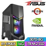 華碩X570平台【天河領主】R9十二核獨顯電玩機(R9-5900X/16G/1TB_SSD/RTX3070-8G)