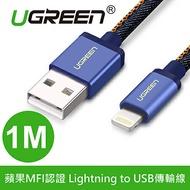 綠聯 1M蘋果MFI認證 Lightning to USB傳輸線 牛仔藍