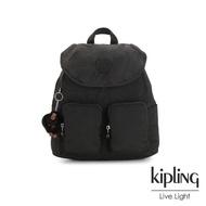 【KIPLING】質感黑翻蓋拉鍊隨身後背包-FIONA