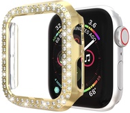 Protector Case Compatible with Apple Watch Series 5 6 Series 4 44mm Cover, Double Row Bling Crystal Diamonds Protective Cover PC Plated Bumper Frame Accessories