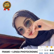 paket frame kacamata + lensa anti radiasi/photocromic/6639 sd -6
