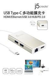 點子電腦☆北投@j5create 凱捷 USB Type-C多功能擴充卡 (JCA374) usb 顯示卡 網路卡