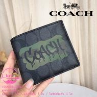 New Coach แท้ 37333 กระเป๋าสตางค์ใบสั้นแฟชั่นลายกราฟฟิตีความจุขนาดใหญ่ กระเป๋าสตางค์หนังผู้ชาย แพ็คเกจการ์ด กระเป๋าสตางค์ กระเป๋าสตางค์