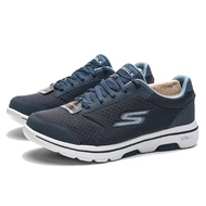 SKECHERS GO WALK 5 QUALIFY 灰藍 網布 健走 休閒鞋 男 (布魯克林) 55509NVY