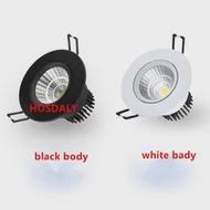 สีขาวสีดำ COB LED โปรเจคเตอร์โคมไฟ AC85-265V 5W 7W 9W 10W 12W รอบ led แผงอลูมิเนียมหรี่แสงได้ 110v 220V