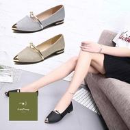 รองเท้าคัชชูหัวแหลม ส้นเตี้ย สายคาดประดับมุก รองเท้าแฟชั่นผู้หญิงเรียบหรู ใส่ออกงานสวยๆ เบอร์ 35-40 ซื้อขายง่ายสะดวก