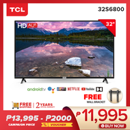 TCL 32 inch HD LED AI Smart TV – Android - HDR – Netflix – YouTube (Model LED32S6800)