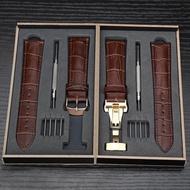 手錶帶真皮男女款蝴蝶扣針扣配件適用于ck浪琴卡西歐天梭dw