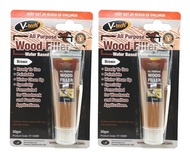 (Bundle of 2) V-TECH All Purpose Wood filler Water Based Putty 50g (Brown)