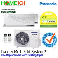 Panasonic Dual Split AirCon with FREE Replacement [SYSTEM. 2]
