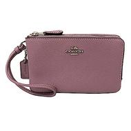 COACH L型雙層拉鍊手拿包零錢包(全皮-木槿紫)