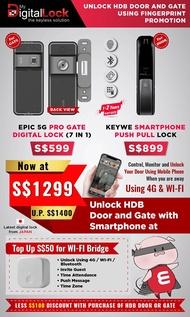 Epic 5G Pro Digital Lock On Gate + Keywe Push Pull Digital Lock On Door + Digital Door Viewer