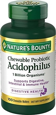 Nature s Bounty Acidophilus w/Lactis Milk Free, 100 Chewable Wafers
