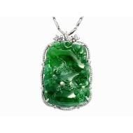 天然緬甸翡翠墜鍊 A貨 辣色 荖坑綠 色濃郁 18K金檯 國際珠寶證 商品編號:A71188