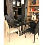二手 大理石餐桌+不鏽鋼骨架 餐桌椅 餐桌 設計師餐桌椅