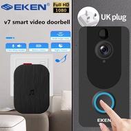 EKEN V7 HD 1080P Smart WiFi Video Doorbell Camera Video Intercom Night Vision PIR Doorbell Wireless Security Camera