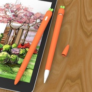 Carrot Shaped Stylus Sleeve Cover Screen Touch Pen Silicone Grip Holder Compatible for Apple Pencil 1 2