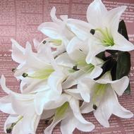 【樂提小舖】01101 山百合 人造花 裝飾花 人造百合花 仿真百合花束 掃墓花束 婚禮佈置 塑膠百合 假百合花 百合花