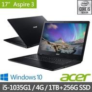【Acer 宏碁】福利品 A317-52-5767 17.3吋雙碟超值文書筆電-黑(i5-1035G1/4G/1TB+256G SSD/Win10)