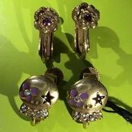 Anna Sui全新限量正品紫色水鑽骷髏頭/花朵夾式雙耳環耳環組安娜蘇