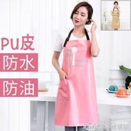 掛脖圍裙女防水防油男士成人廚房廚師服防污工作服純色圍兜皮罩衣