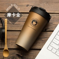 创意杯子网红水杯马克杯不锈钢女学生带盖勺咖啡杯保温杯ins-定制 升级版手提咖啡保温杯【碳晶黑500ML】 升级版手提咖啡保温杯【摩卡金500ML】