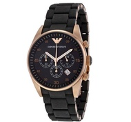 Emporio_Armani Sportivo Chronograph 38mm dial Silicone Strap Ladies Women's Black and Rose Gold Watch AR5906