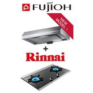 FUJIOH FR-FS1890R SLIMLINE HOOD + MADE IN JAPAN Rinnai RB-2CG Built-in 2 Burner Inner Flame Hob