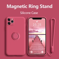 iPhone 12 12Pro 12Pro Max protective cover iPhone 12mini silicone protective cover with ring seat magnetic cover