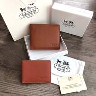 COACH Compact ID Wallet in Sport Calf Leather กระเป๋าสตางค์ใบสั้น (งานแบรนด์แท้)