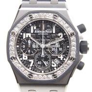 錶皇 AP 愛彼 JF廠系列 皇家橡樹離岸精鋼鑲鑽黑色機械女錶26048SK.ZZ.D002CA.01