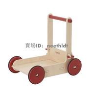 優品丹麥moover出口嬰兒單杠手推木制學步車6-12寶寶紅原木色