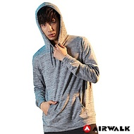 【AIRWALK】男款連帽長T-淺麻灰色