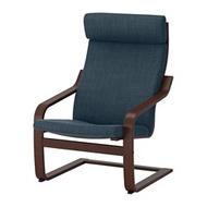 IKEA POÄNG 扶手椅, 棕色/hillared 深藍色