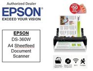 Epson WorkForce DS-360W ** Free $50 NTUC Voucher Till 2nd Mar 2019 **  Wi-Fi Portable Sheet-fed Document Scanner  DS360W DS 360 W 360w