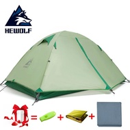 Hewolf 3-4 People Ultralight Double Waterproof Tent Camping Tent  20D Nylon Silicone Outdoor Aluminum Pole 2 Person Camp