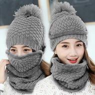 【EZlife】女士全方位防風保暖帽三件套灰色