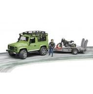 【Fun心玩】RU2598 麗嬰 德國 BRUDER Land Rover 路虎+杜卡迪拖車組(含人偶) 兒童 汽車