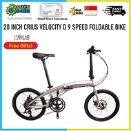 Latest Crius Velocity D 9 Speed (Dolphin) 20inch Foldable Bike Bicycle Champagne Gold Foldie Litepro High Quality