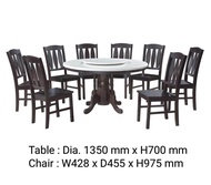 Q 10  1+8 Marble Dining Set / 8 Seater Marble Dining Table Set / Marble Dining Table With 8 Chairs / Marble Dining Set / Round Table Marble Dining Set (TWH)