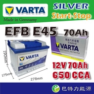 VARTA 華達 E45(N70) 福斯 奧迪 AUDI VW EFB電瓶 【巴特力能源】