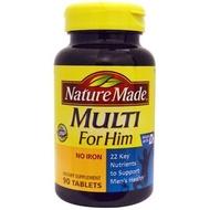 Nature made 萊萃美 男性綜合維他命 不含鐵配方 90錠  美國原裝版 全新品
