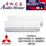 MITSUBISHI SYSTEM 2 MSXY-FN18VE X1 18000BTU+ MSXY-FN24VE X1 24000BTU AIRCON