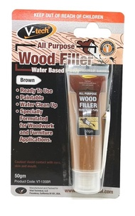 V-TECH All Purpose Wood filler Water Based Putty 50g (Brown)