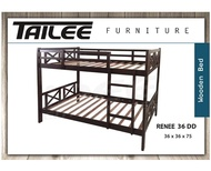 Tailee Furniture Renee36 Malaysian Rubber Wood Single DoubleDeck Bed Frame (36 x 36 x 75 inches) (Cappuccino)